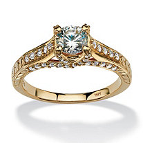 1.02 TCW Round Cubic Zirconia Ring in 10k Gold