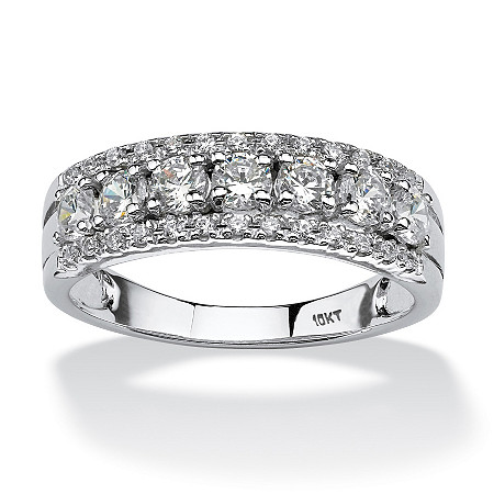 .83 TCW Round Cubic Zirconia Ring in 10k White Gold at PalmBeach Jewelry