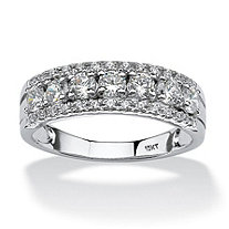 SETA JEWELRY .83 TCW Round Cubic Zirconia Ring in 10k White Gold