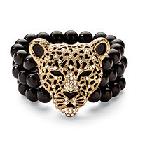 Crystal Leopard Genuine Onyx Stretch Bracelet in Yellow Gold Tone
