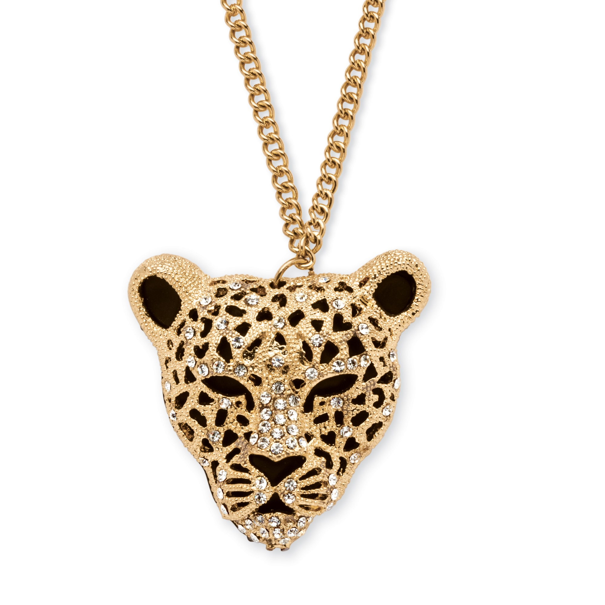White Crystal Leopard Pendant Necklace In Yellow Gold Tone
