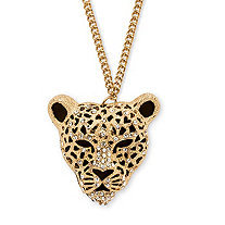 "White Crystal Leopard Pendant Necklace in Yellow Gold Tone 28""-30"""