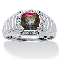 SETA JEWELRY Men's 2.72 TCW Cushion-Cut Fire Topaz and White Sapphire Ring in Platinum over .925 Sterling Silver