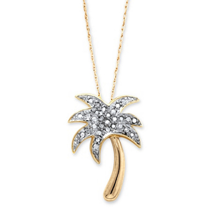 "Diamond Accent Palm Tree Pendant Necklace in 14k Gold over Sterling Silver 18"" at PalmBeach Jewelry"