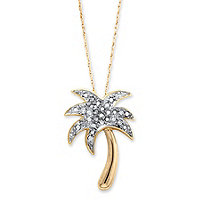 Diamond Accent Palm Tree Pendant Necklace in 14k Gold over Sterling Silver 18""