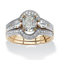 Oval-Cut Cubic Zirconia 3-Piece Halo Bridal Set In 10k Gold ONLY $159.99