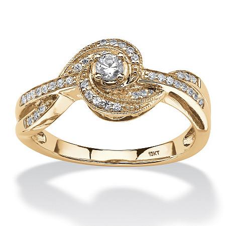1/5 TCW Round Diamond Knot Twist Ring in 10k Gold at PalmBeach Jewelry