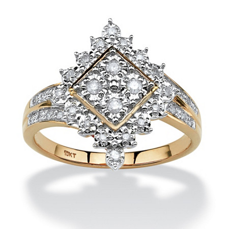 1/4 TCW Round Diamond Geometric Ring in 10k Gold at PalmBeach Jewelry