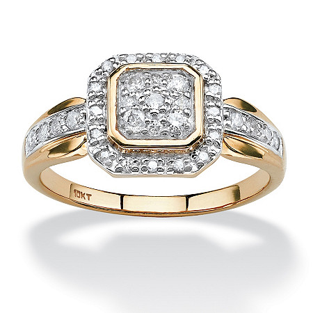 3/8 TCW Round Diamond Squared Halo Ring in Solid 10k Yellow Gold at PalmBeach Jewelry