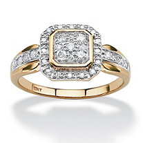 3/8 TCW Round Diamond Squared Halo Ring in Solid 10k Yellow Gold