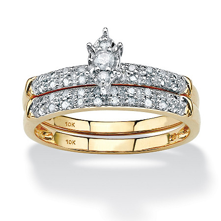 1/5 TCW Marquise-Shaped Diamond Two-Piece Bridal Set in 10k Yellow Gold at PalmBeach Jewelry