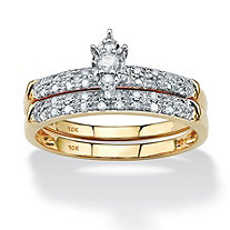 1/5 TCW Marquise-Shaped Diamond Two-Piece Bridal Set in 10k Yellow Gold