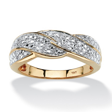 1/10 TCW Round Diamond Braid Ring in Solid 10k Gold at PalmBeach Jewelry