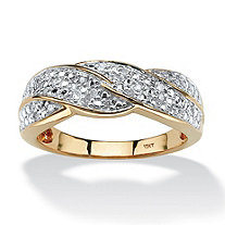 1/10 TCW Round Diamond Braid Ring in Solid 10k Gold