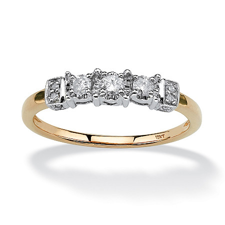 1/5 TCW Round Diamond Ring with Side Heart Detail in 10k Gold at PalmBeach Jewelry