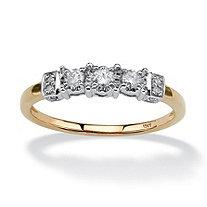 1/5 TCW Round Diamond Ring with Side Heart Detail in 10k Gold