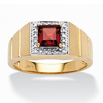 SETA JEWELRY Men's 1.30 TCW Square-Cut Garnet and Diamond Accent Ring in 10k Gold