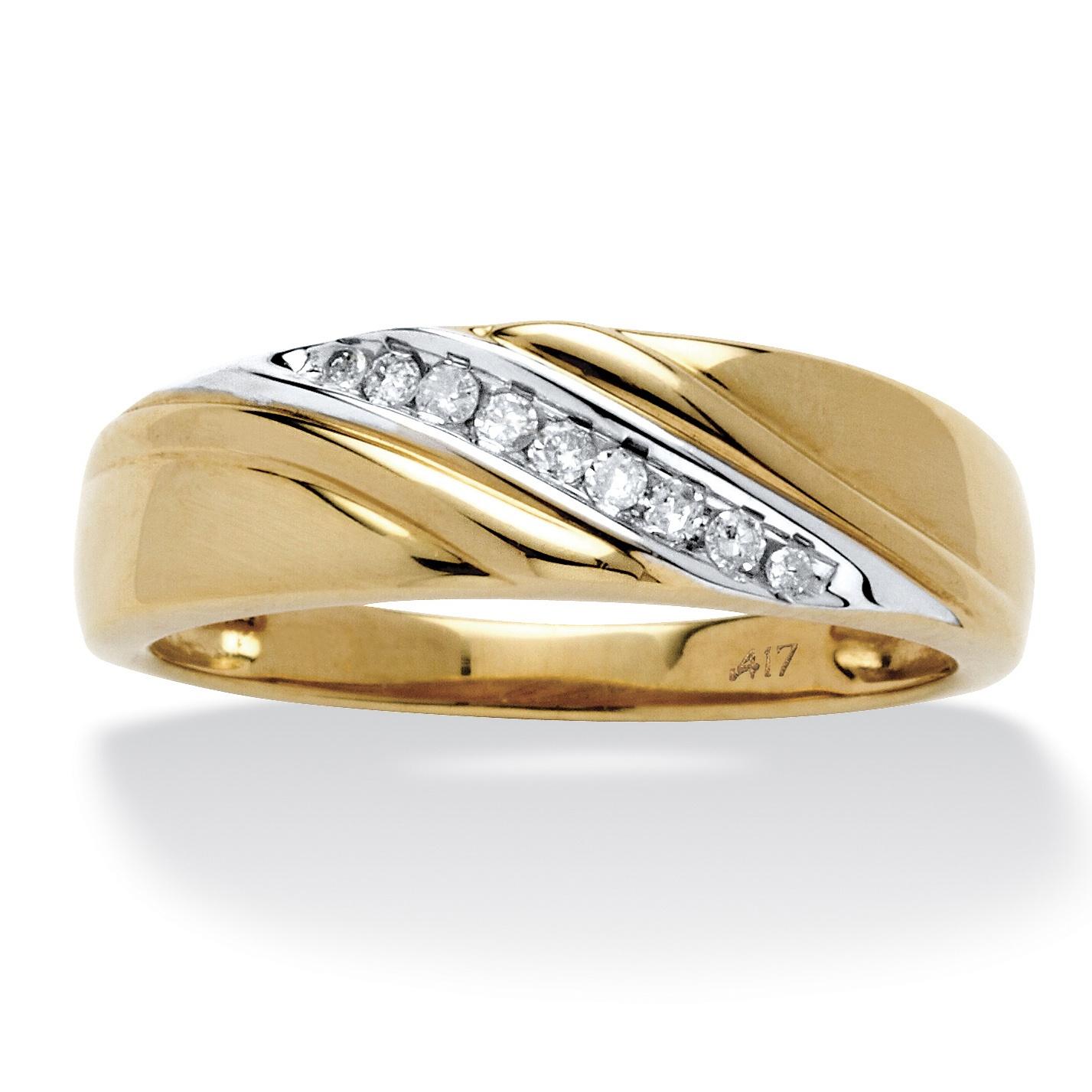 Men's 1/8 TCW Round Diamond Diagonal Ring in Solid 10k ... - photo #12
