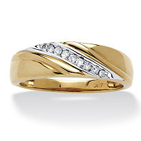Men's 1/8 TCW Round Diamond Diagonal Ring in Solid 10k Gold