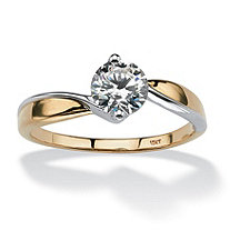 .90 TCW Round Cubic Zirconia Solitaire Twist Ring in Two-Tone 10k Gold