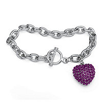 Purple Crystal Heart Charm Bracelet in Silvertone 8""