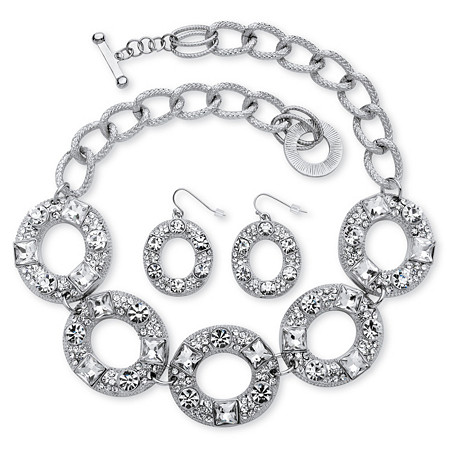 2 Piece Crystal Circle Necklace and Earrings Set in Silvertone at PalmBeach Jewelry