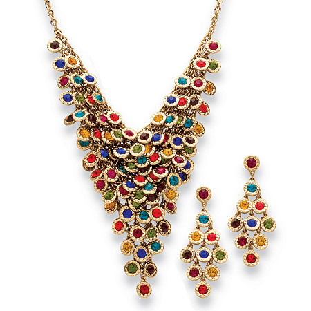 Multicolor Crystal Two-Piece Necklace and Earrings Set in Yellow Gold Tone at PalmBeach Jewelry