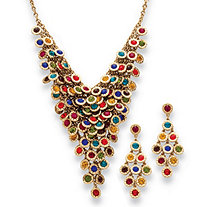 Multicolor Crystal Two-Piece Necklace and Earrings Set in Yellow Gold Tone