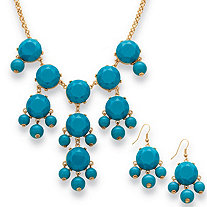 2-Piece Aqua Bubble Beaded Necklace and Earrings Set in Yellow Gold Tone