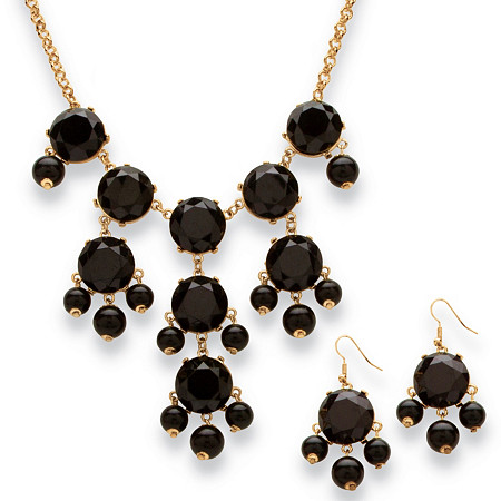 Black Bubble Beaded Necklace and Earrings Two-Piece Set in Yellow Gold Tone at PalmBeach Jewelry