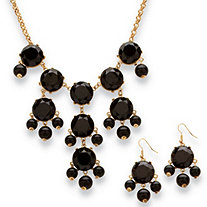 Black Bubble Beaded Necklace and Earrings Two-Piece Set in Yellow Gold Tone