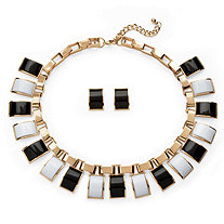 2 Piece Black and White Necklace and Earrings Set in Yellow Gold Tone 16""