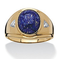 Men's Oval-Cut Genuine Blue Lapis and Diamond Accent Ring in 18k Gold over Sterling Silver