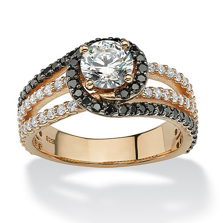 1.86 TCW Round Black and White Cubic Zirconia Halo Ring in 18k Gold over Sterling Silver at PalmBeach Jewelry