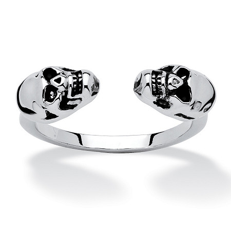 Polished Twin Skulls Open Ring Platinum-Plated at PalmBeach Jewelry