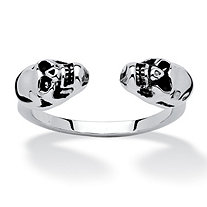 Polished Twin Skulls Open Ring Platinum-Plated