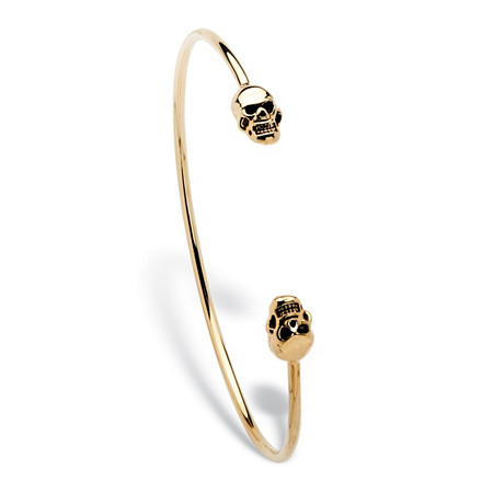 Twin Skulls Open Cuff Bangle Bracelet 14k Gold-Plated 7.5