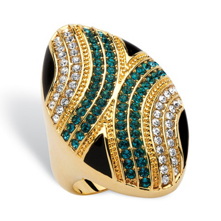 Oval Blue and White Crystal Geometric Mod Ring 14k Gold-Plated MADE WITH SWAROVSKI ELEMENTS at PalmBeach Jewelry
