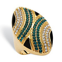 Oval Blue and White Crystal Geometric Mod Ring 14k Gold-Plated MADE WITH SWAROVSKI ELEMENTS