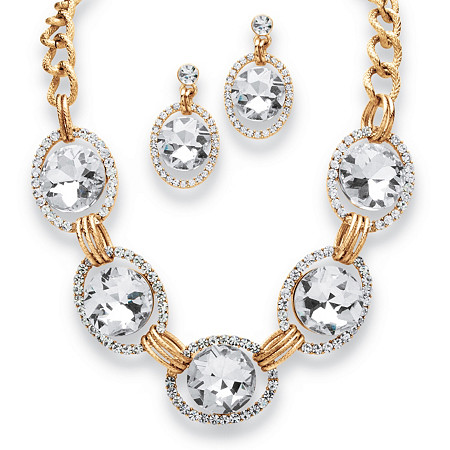 2 Piece Crystal Curb-Link Halo Necklace and Drop Earrings Set in Yellow Gold Tone at PalmBeach Jewelry