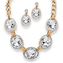 2 Piece Crystal Curb-Link Halo Necklace and Drop Earrings Set in Yellow Gold Tone