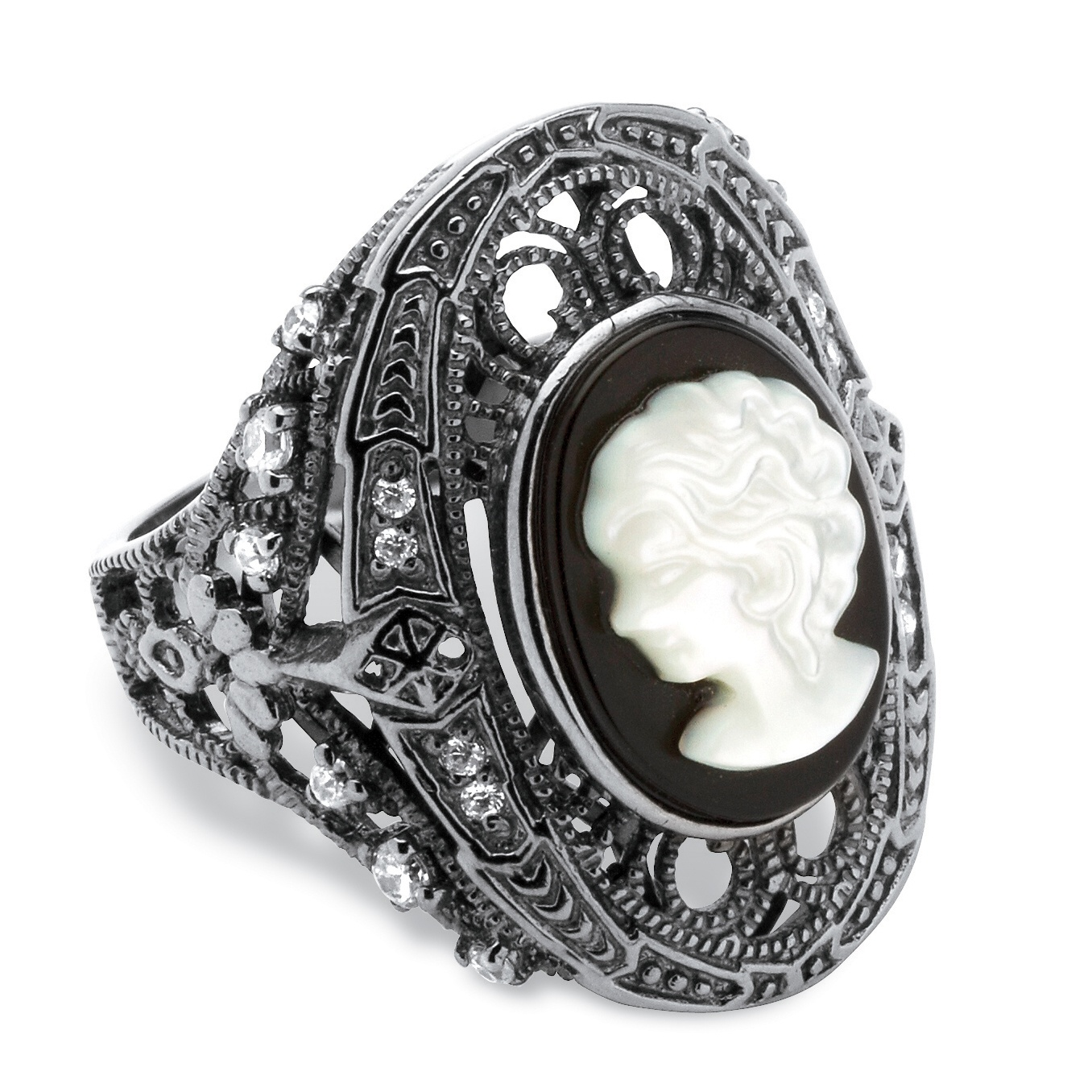 Onyx And Mother Of Pearl Cameo And Cubic Zirconia Cocktail