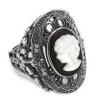 Onyx and Mother-of-Pearl Cameo and Cubic Zirconia Cocktail Ring in Black Rhodium-Plated