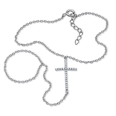 .21 TCW Cubic Zirconia Cross Hand Chain Bracelet in .925 Sterling Silver at PalmBeach Jewelry