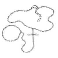 Cubic Zirconia Cross Hand Chain Bracelet In Sterling Silver ONLY $4.99