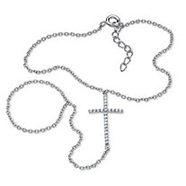 .21 TCW Cubic Zirconia Cross Hand Chain Bracelet in .925 Sterling Silver