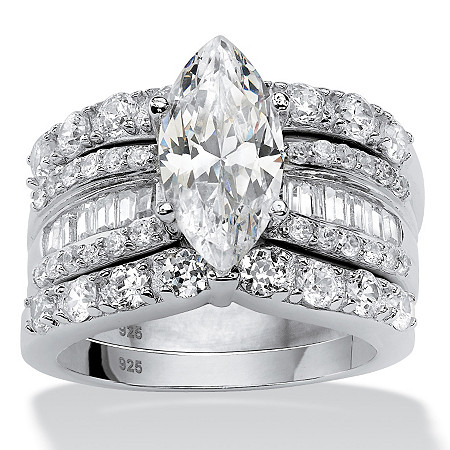 4.55 TCW Marquise-Cut Cubic Zirconia 3-Piece Bridal Ring Set in Platinum over Sterling Silver at PalmBeach Jewelry