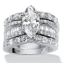 SETA JEWELRY 4.55 TCW Marquise-Cut Cubic Zirconia 3-Piece Bridal Ring Set in Platinum over Sterling Silver