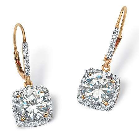 6.54 TCW Round Cubic Zirconia Halo Drop Earrings in 18k Gold over Sterling Silver at PalmBeach Jewelry