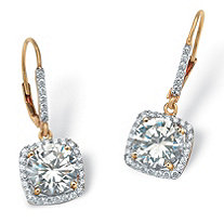 SETA JEWELRY 6.54 TCW Round Cubic Zirconia Halo Drop Earrings in 18k Gold over Sterling Silver